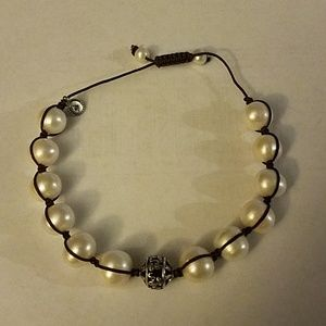 Silpada pearl and sterling drawstring bracelet